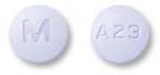 Image of lavender pill imprinted M / A23