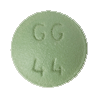 Image of light green pill imprinted GG 44