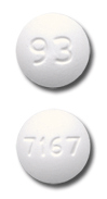 Image of white to off-white pill imprinted 93 / 7167