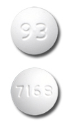 Image of white to off-white pill imprinted 93 / 7168