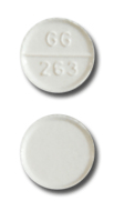 Image of white pill imprinted GG 263