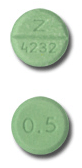 Image of light green pill imprinted Z 4232 / 0.5