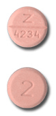 Image of peach pill imprinted Z 4234 / 2