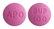 Image of purple pill imprinted APO / BUP 100