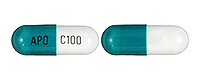 Image of white and blue-green pill imprinted APO C100