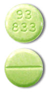 Image of mottled green pill imprinted 93 833