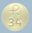 Image of yellow pill imprinted R 34