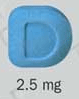 Image of blue pill imprinted D / 2.5