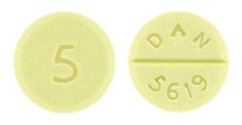 Image of yellow pill imprinted DAN 5619 / 5
