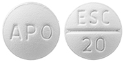 Image of white pill imprinted APO / ESC 20