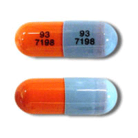 Image of blue and orange pill imprinted 93 7198 / 93 7198