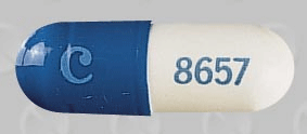 Image of blue and white pill imprinted C 8657