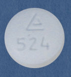 Image of white pill imprinted Logo 524