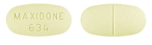 Image of yellow pill imprinted MAXIDONE 634