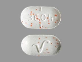 Image of white with orange specks pill imprinted V / 3604