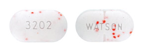 Image of white with orange specks pill imprinted WATSON / 3202