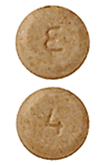 Image of tan pill imprinted E / 4