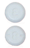 Image of white pill imprinted E / 8