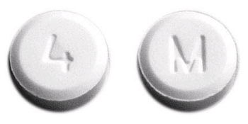 Image of white pill imprinted M / 4