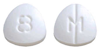 Image of white to off-white pill imprinted M / 8