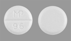Image of white pill imprinted MP 96