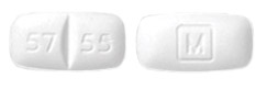 Image of white pill imprinted M / 57 55