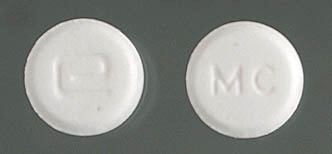 Image of white pill imprinted a (Logo) / MC