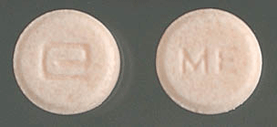 Image of orange pill imprinted a (Logo) / ME