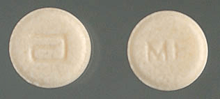 Image of yellow pill imprinted a (Logo) / MF