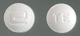 Image of white pill imprinted a (Logo) / TE