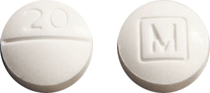 Image of white pill imprinted 20 / M (Boxed)