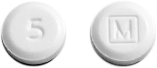 Image of white pill imprinted 5 / M (Boxed)