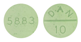 Image of light green pill imprinted DAN 10 / 5883
