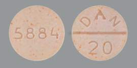 Image of peach pill imprinted DAN 20 / 5884