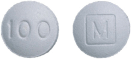 Image of gray pill imprinted M (Boxed) / 100