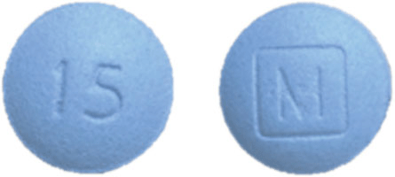 Image of blue pill imprinted M (Boxed) / 15