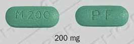Image of green pill imprinted PF / M 200