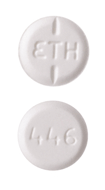 Image of white pill imprinted ETH / 446