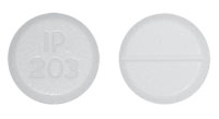Image of white to off-white pill imprinted IP 203