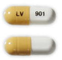Image of yellow and white pill imprinted LV 901