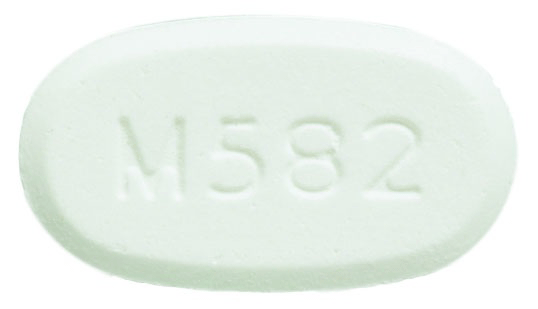 Image of white to off-white pill imprinted M582