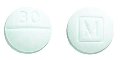 Image of light blue pill imprinted M (Boxed) / 30