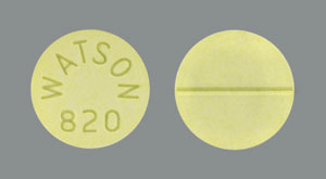 Image of yellow pill imprinted WATSON 820
