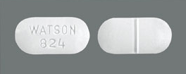 Image of white pill imprinted WATSON 824