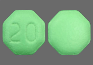 Image of green pill imprinted 20