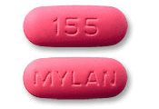 Image of pink pill imprinted MYLAN / 155