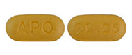 Image of yellow ochre pill imprinted APO / RI .25