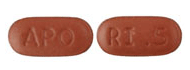 Image of brownish-red pill imprinted APO / RI .5