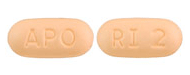 Image of light orange pill imprinted APO / RI 2