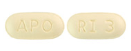 Image of beige pill imprinted APO / RI 3